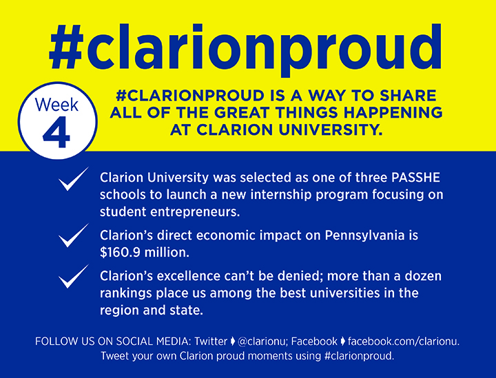 Week Fours reasons to be Clarion Proud