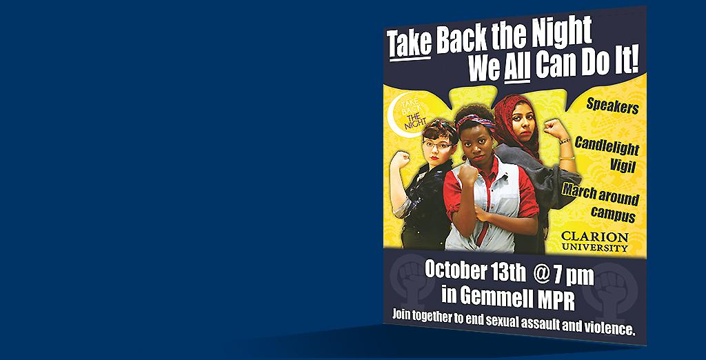 "Clarion University is hosting ""take back the night"""