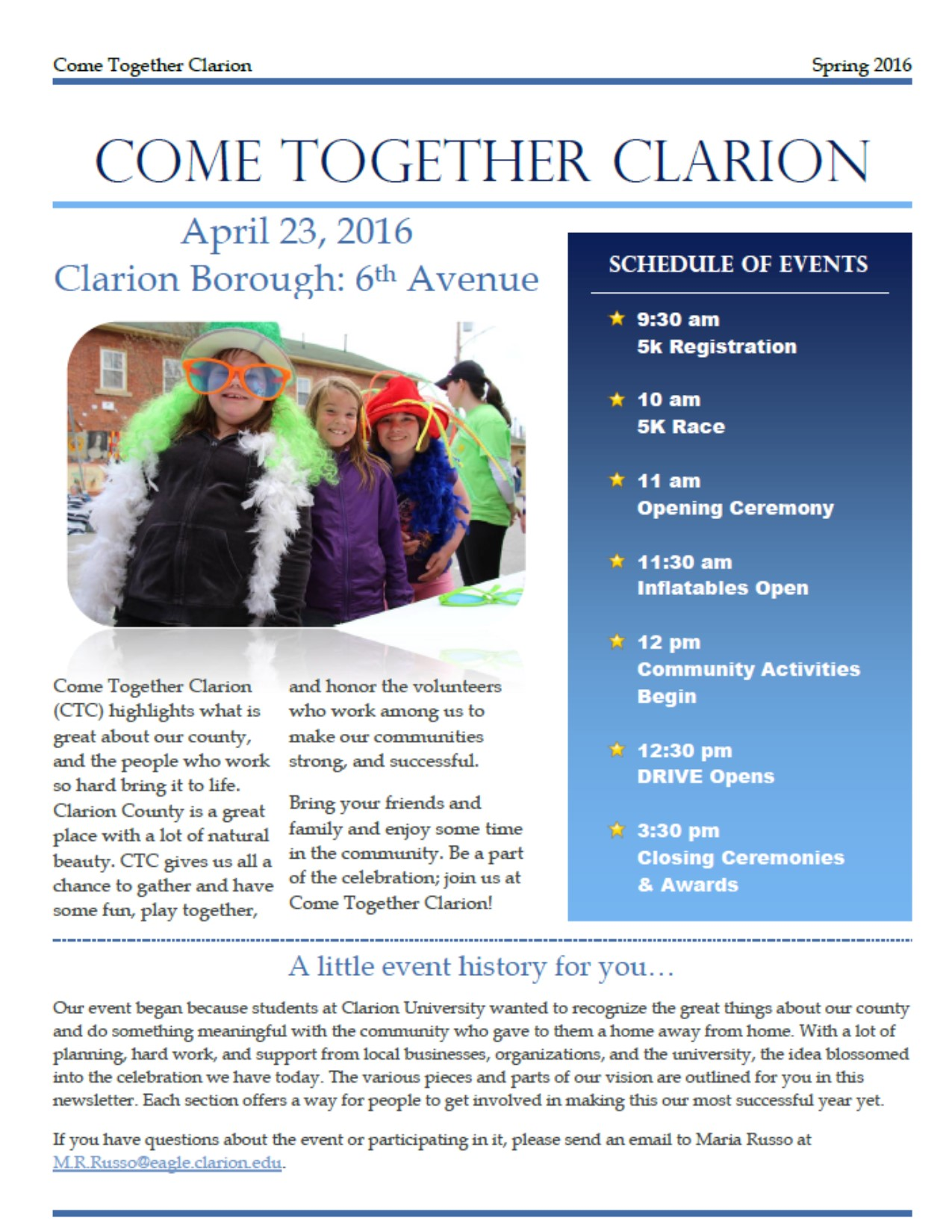 cover of 2016 CTC newsletter for direct link to online copy