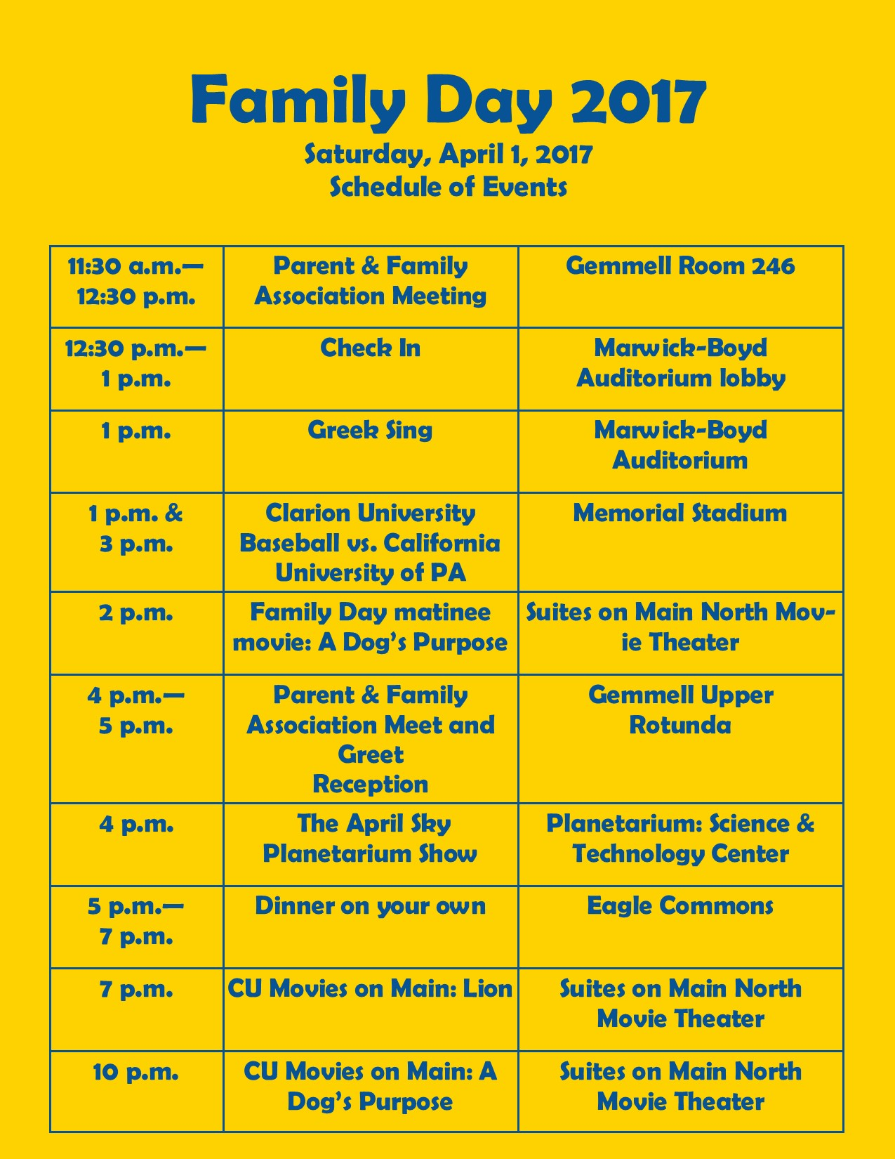 family day schedule
